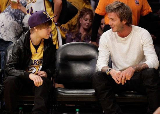 Pictures of Denzel Washington, David Beckham, Jaden Smith, Justin Bieber at a Lakers Game