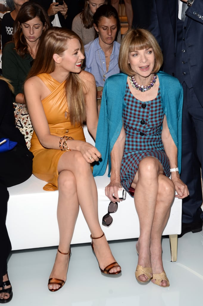 Blake Lively sat next to Anna Wintour at the Gucci Spring '14 show on Wednesday.