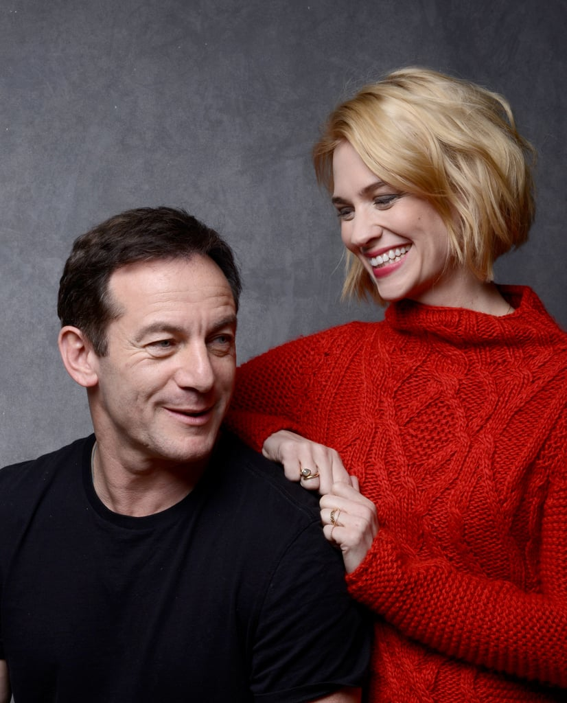 January Jones gave a sweet look to Sweetwater co-star Jason Isaacs.