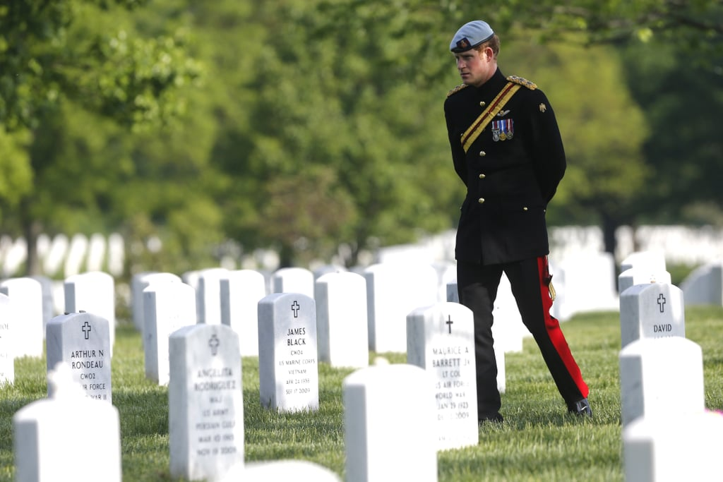 Prince Harry paid his respects to fallen US soldiers this morning at Arlington National Cemetery in Virginia, just outside of Washington DC.
