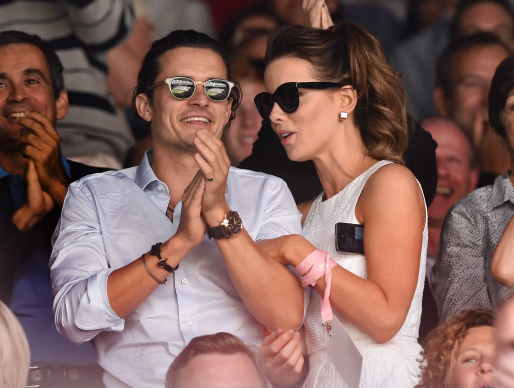 Orlando Bloom and Kate Beckinsale stood out in the stands.