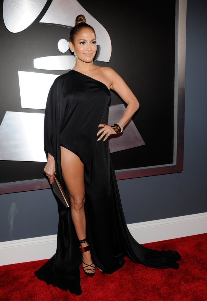 Not one to shy away from the spotlight, Jennifer Lopez oozed sex appeal in an asymmetrical Anthony Vaccarello gown.