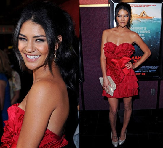 Photos of Jessica Szohr Wearing Red Notte by Marchesa Dress at Piranha 3D Premiere in LA