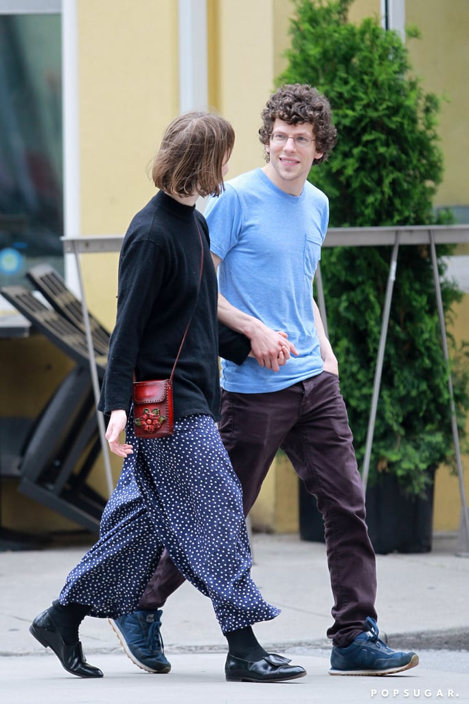 Jesse Eisenberg and Mia Wasikowska held hands in Toronto.