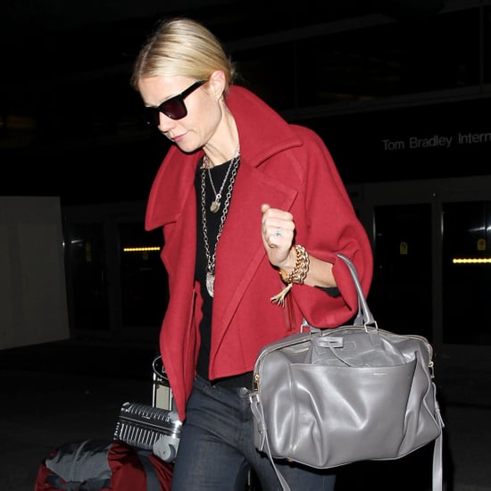 Gwyneth Paltrow in a Red Coat at LAX
