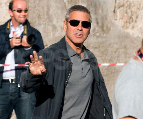 Slide Photo of George Clooney Filming on Set in Italy