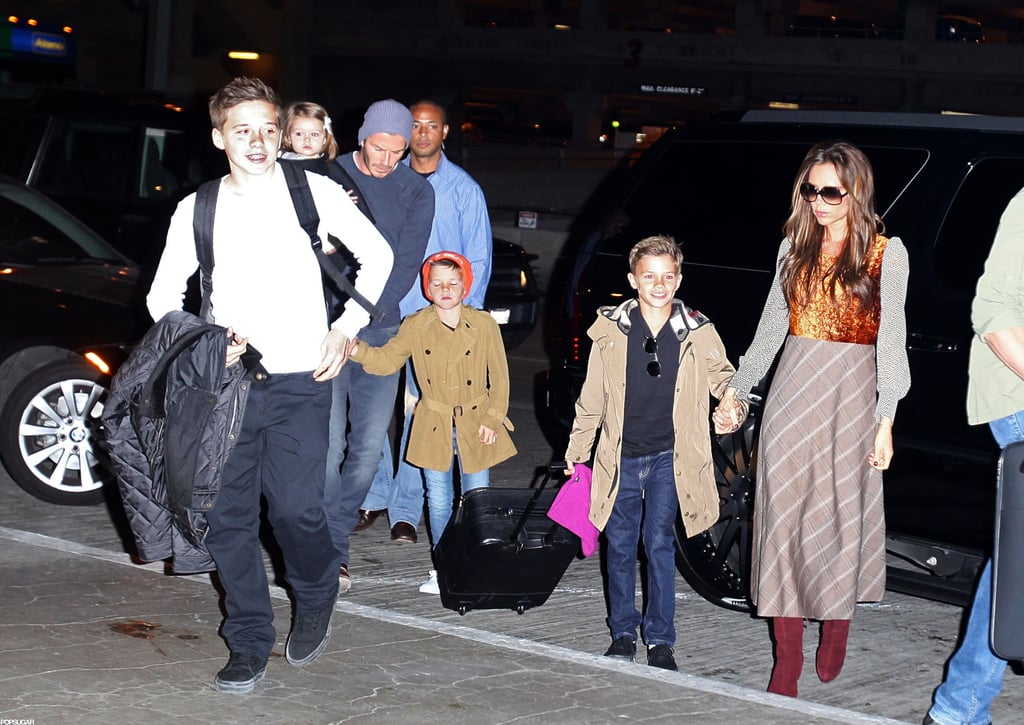 David and Victoria Travel From LA to London With Harper and the Boys
