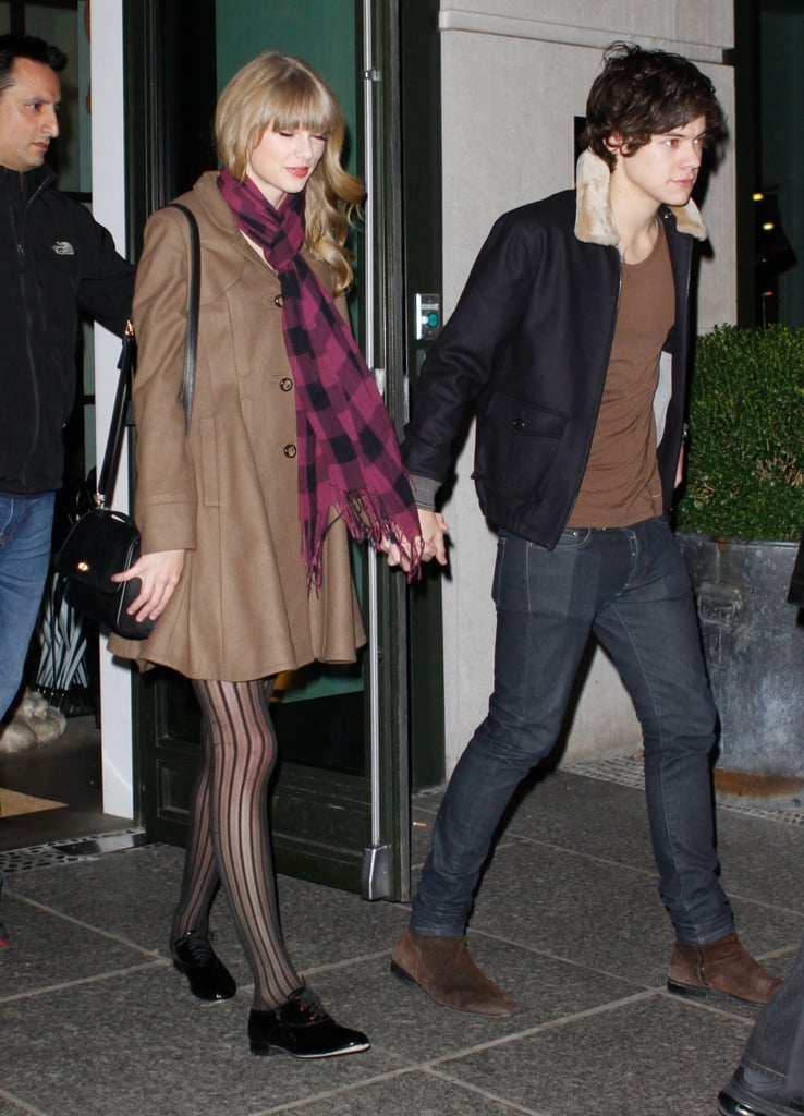 Hot new couple Taylor Swift and One Direction's Harry Styles held hands as they left a birthday party together in New York on December 7.