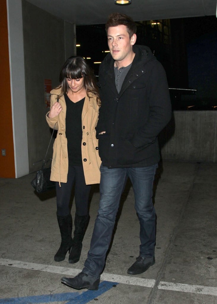 Lea Michele and Cory Monteith walked to their car.