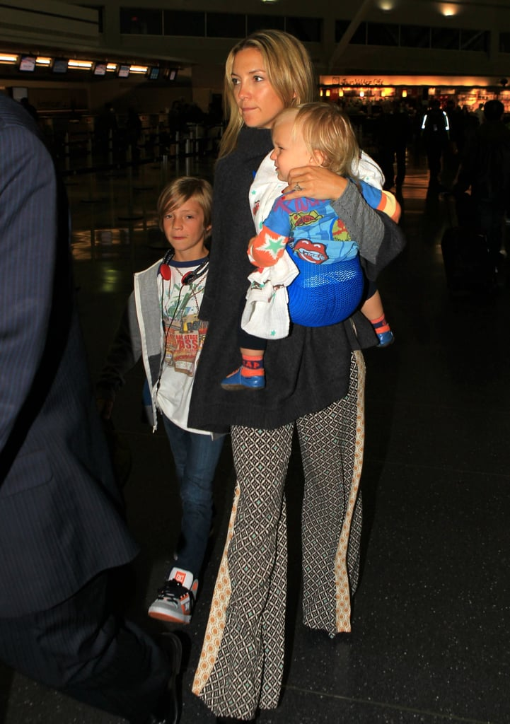 Kate Hudson Flies into NYC With Her Main Men Ryder and Bingham