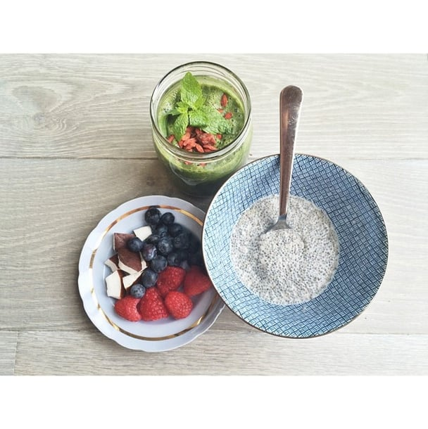 If you're a purist, keep things simple, but serve your chia pudding with a fruit salad on the side.  Source: Instagram user annamoiselle