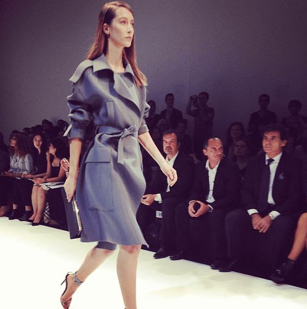 Guy Laroche's neoprene trench coat caught W's eye. Source: Instagram user wmagkarla