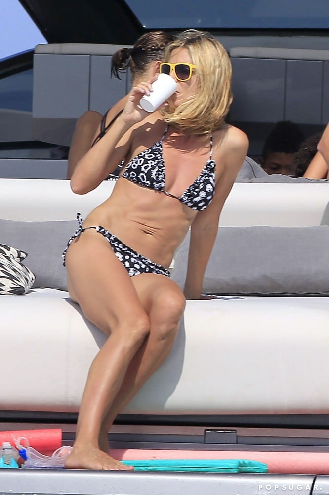 In August 2011, Heidi Klum enjoyed a beverage in Ibiza.