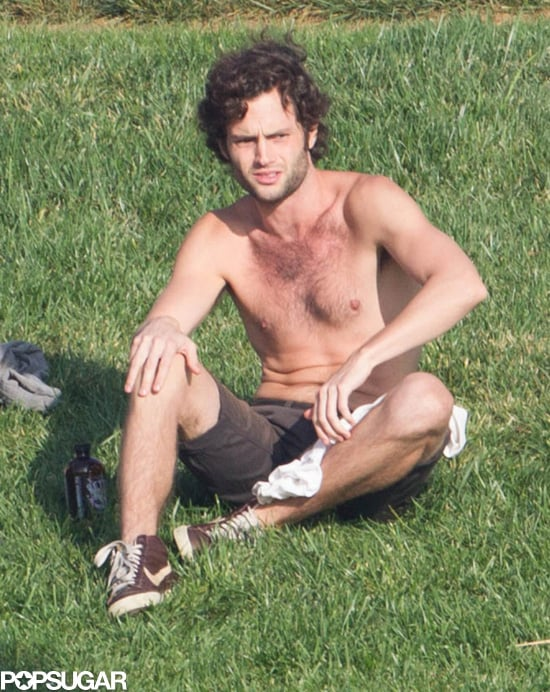 "Penn Badgley embraced the ""no shirt, no problems"" philosophy when he hung out with friends at Echo Park in LA on Sunday."
