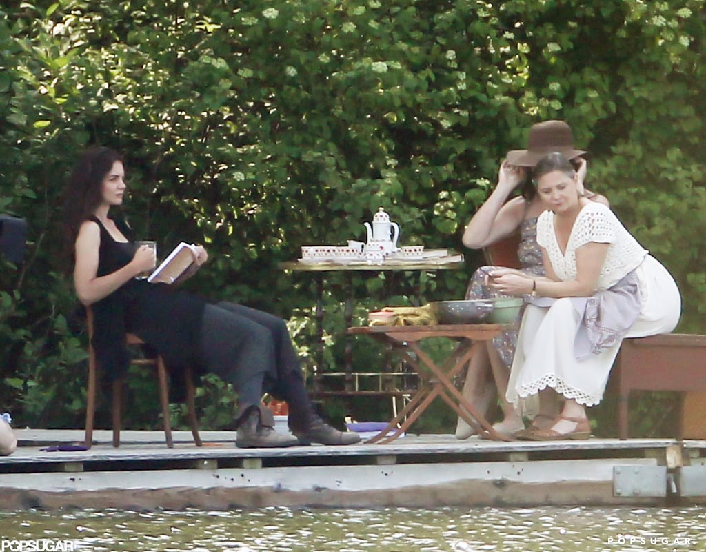 Katie Holmes used a book as a prop while filming in Connecticut.