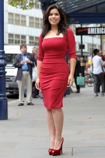 America Ferrera in Red Nicole Miller Dress at Chicago