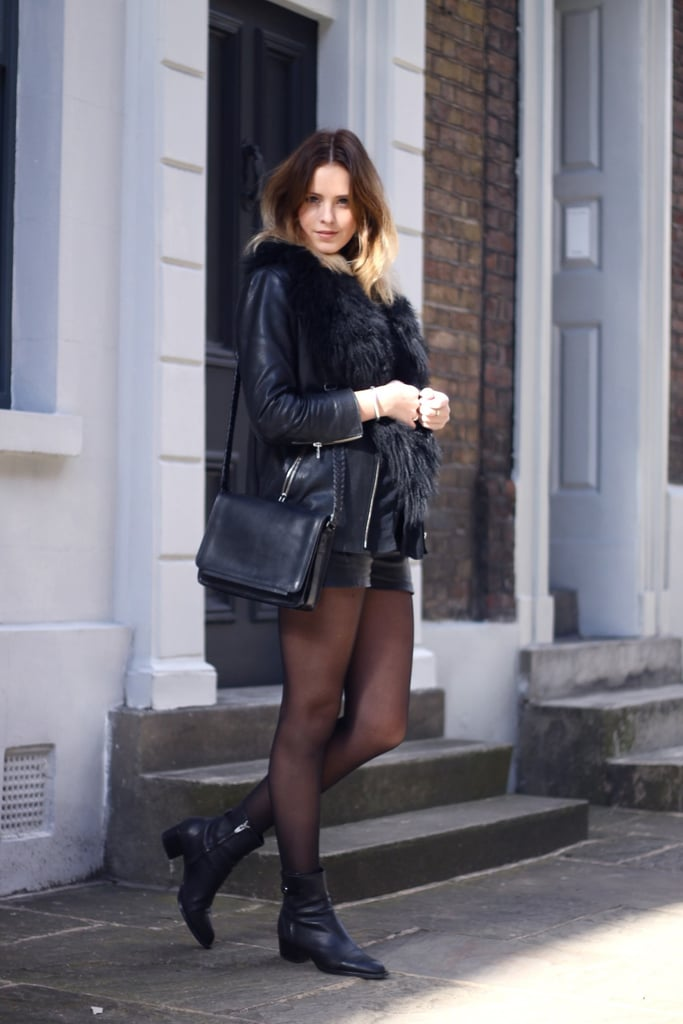 Add interest to all black with textural intrigue from a furry vest juxtaposed with sheer tights.  Source: Lookbook.nu