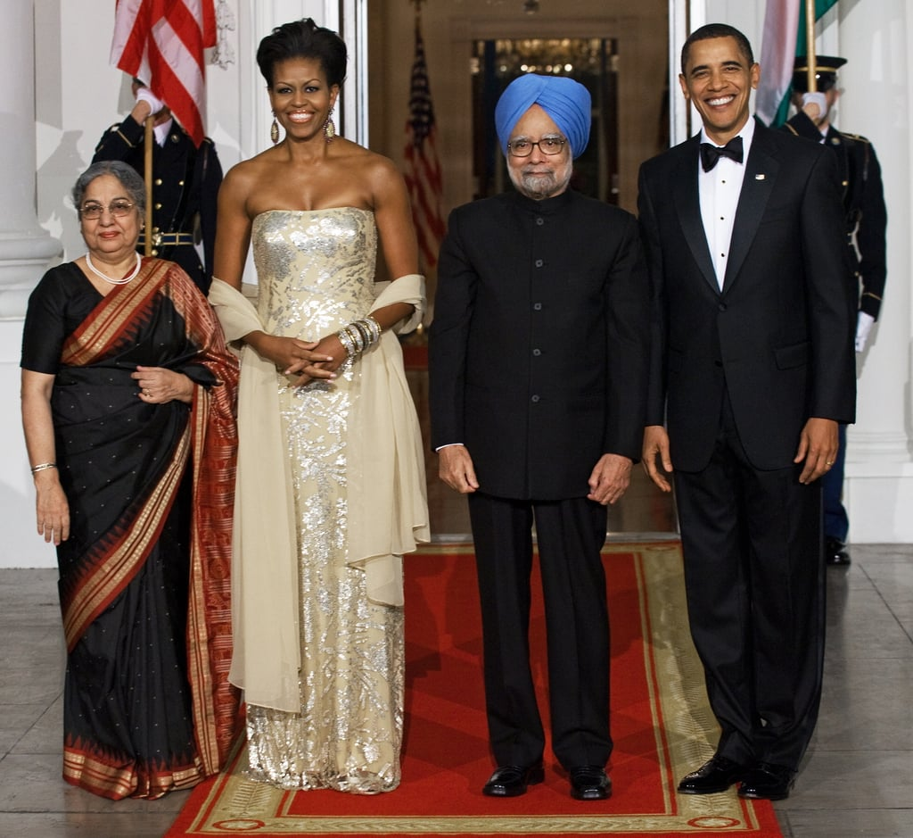 Wearing Naeem Khan at the state dinner with Indian Prime Minister Manmohan Singh and his wife, Gursharan Kaur, in 2009.