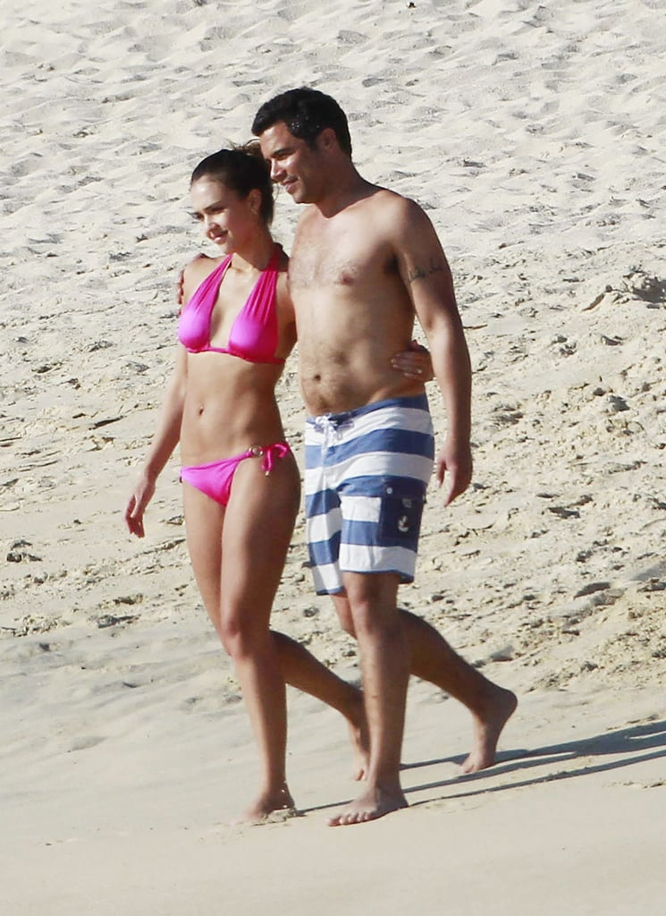 Jessica and her husband, Cash Warren, frolicked on the beach while in Cabo San Lucas in January 2011.