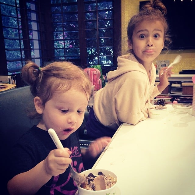 Honor and Haven Warren got pretty excited about their ice cream. Source: Instagram user jessicaalba