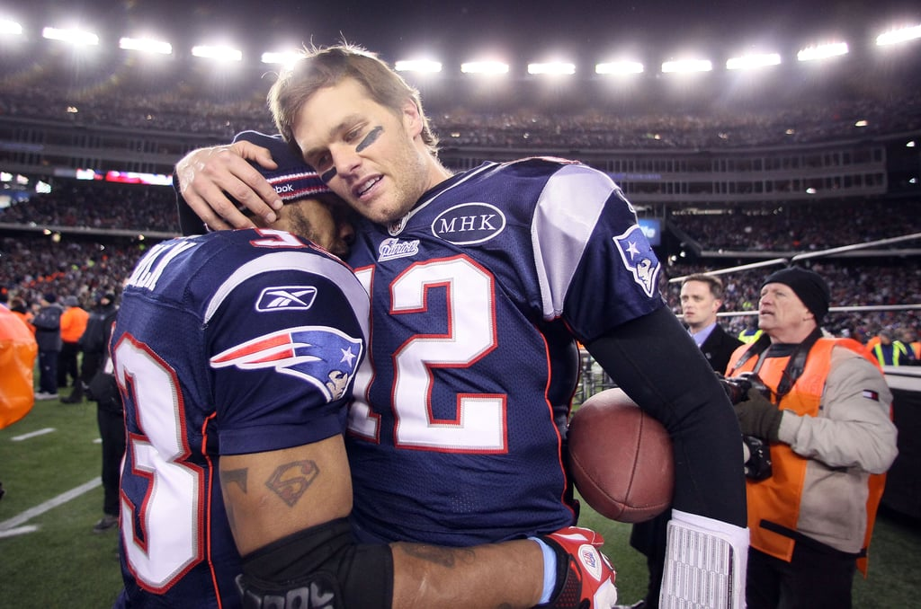 Tom Brady celebrated after a win with the Patriots.