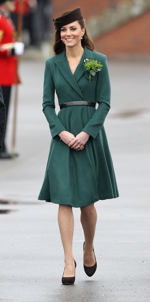 For St. Patrick's Day, Kate made us green with envy in an Emilia Wickstead coat dress and LK Bennett pumps.