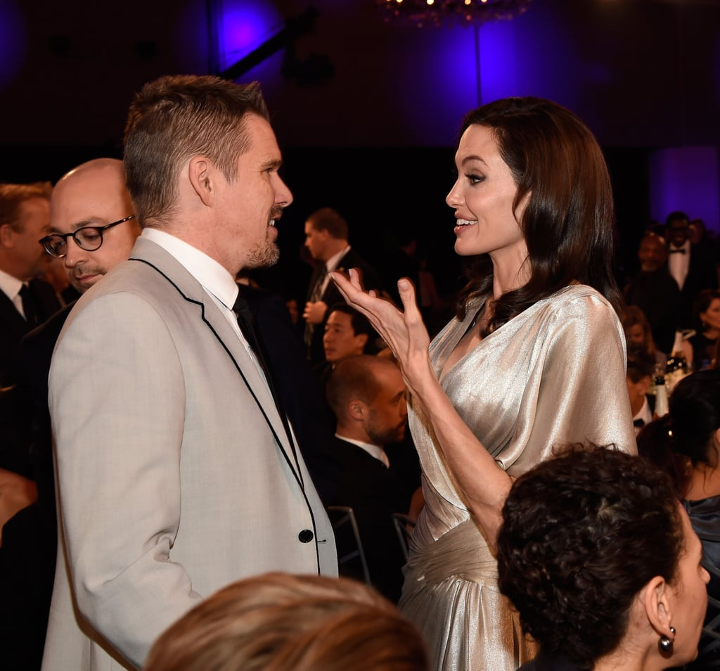 Angelina had a smiley reunion with her Taking Lives costar Ethan Hawke.