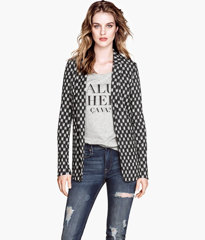 Falling under the hip bone, the longer cut of this skinny-sleeved blazer ($30) adds a touch of rock star to anyone.