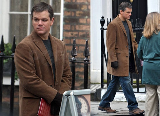 Photos of Matt Damon on the Set of The Hereafter in London at the Charles Dickens Museum