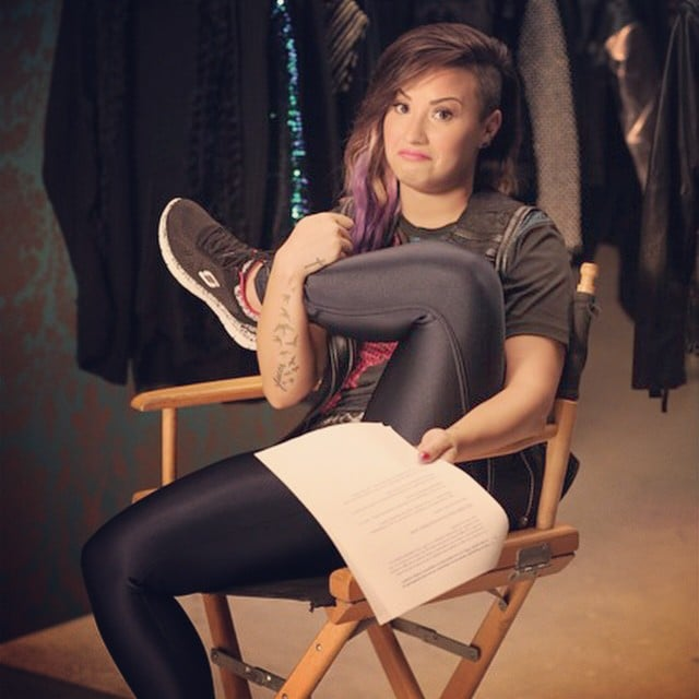Demi Lovato made a face while rehearsing her lines for the Skechers shoot. Source: Instagram user ddlovato
