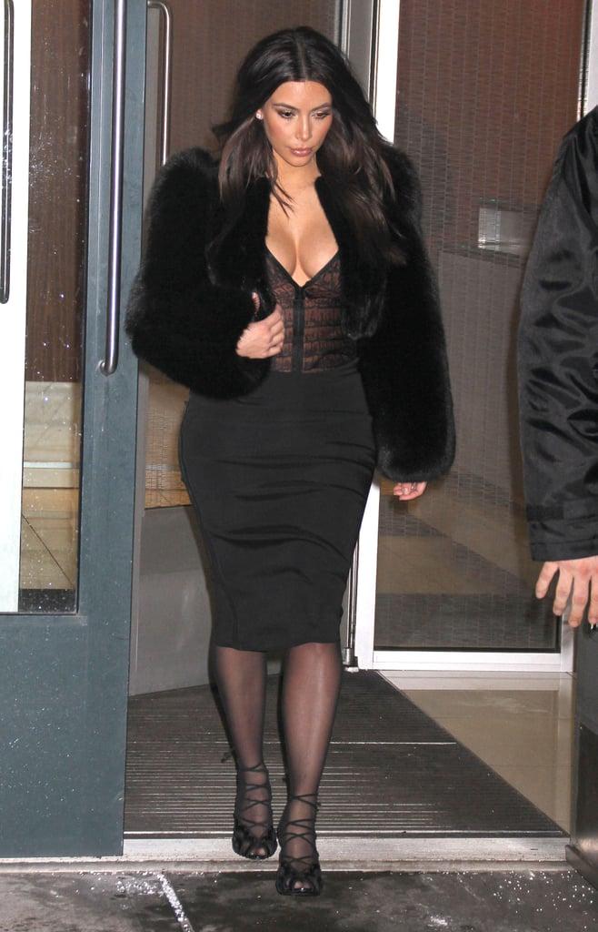 Kim Kardashian braved the cold on Sunday in NYC.