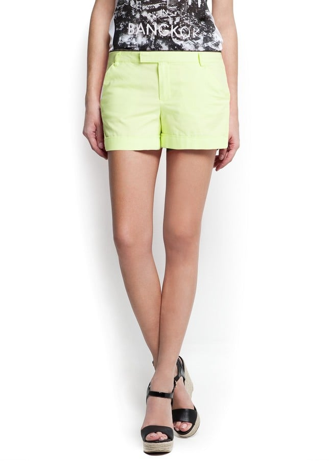 Go extra fresh with these Mango neon-yellow cotton chino shorts ($40), and then colorblock them with an equally punchy top.