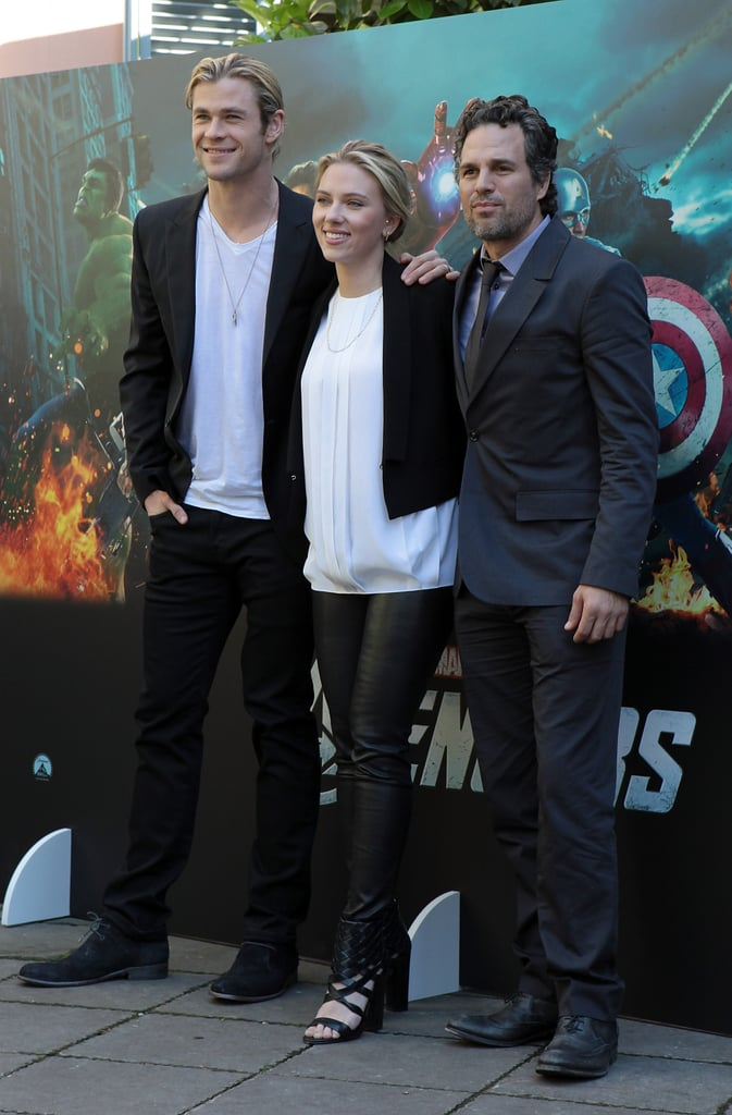 Chris Hemsworth and Scarlett Johansson joined Mark Ruffalo at a Rome press event.