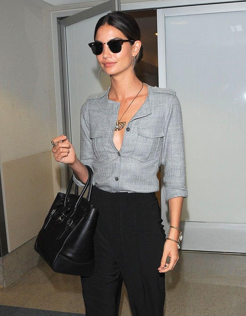 Lily Aldridge caught a flight at LAX on Thursday.
