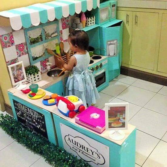 DIY Cardboard Play Kitchen For Kids