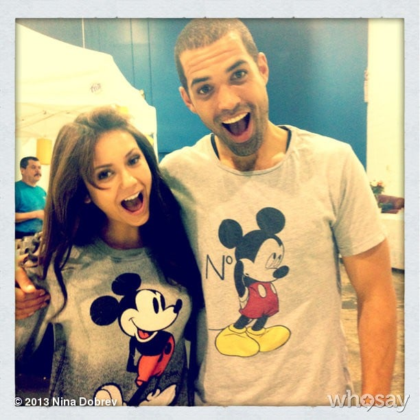 Nina Dobrev and Cottrell Guidry conveniently both wore Mickey Mouse t-shirts on the same day. Source: Nina Dobrev on WhoSay