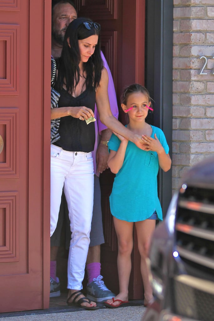 Courteney Cox and daughter Coco left a Memorial Day party at Joel Silver's house in LA.