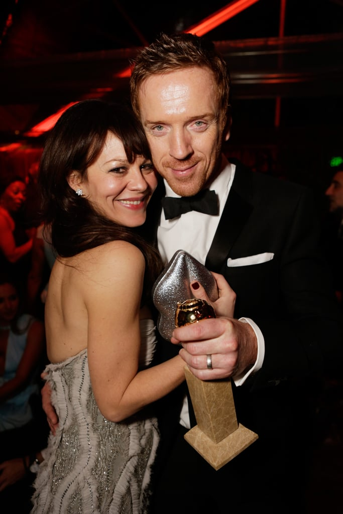 Best actor winner Damian Lewis and his wife, Helen McCrory, danced at The Weinstein Company's party.