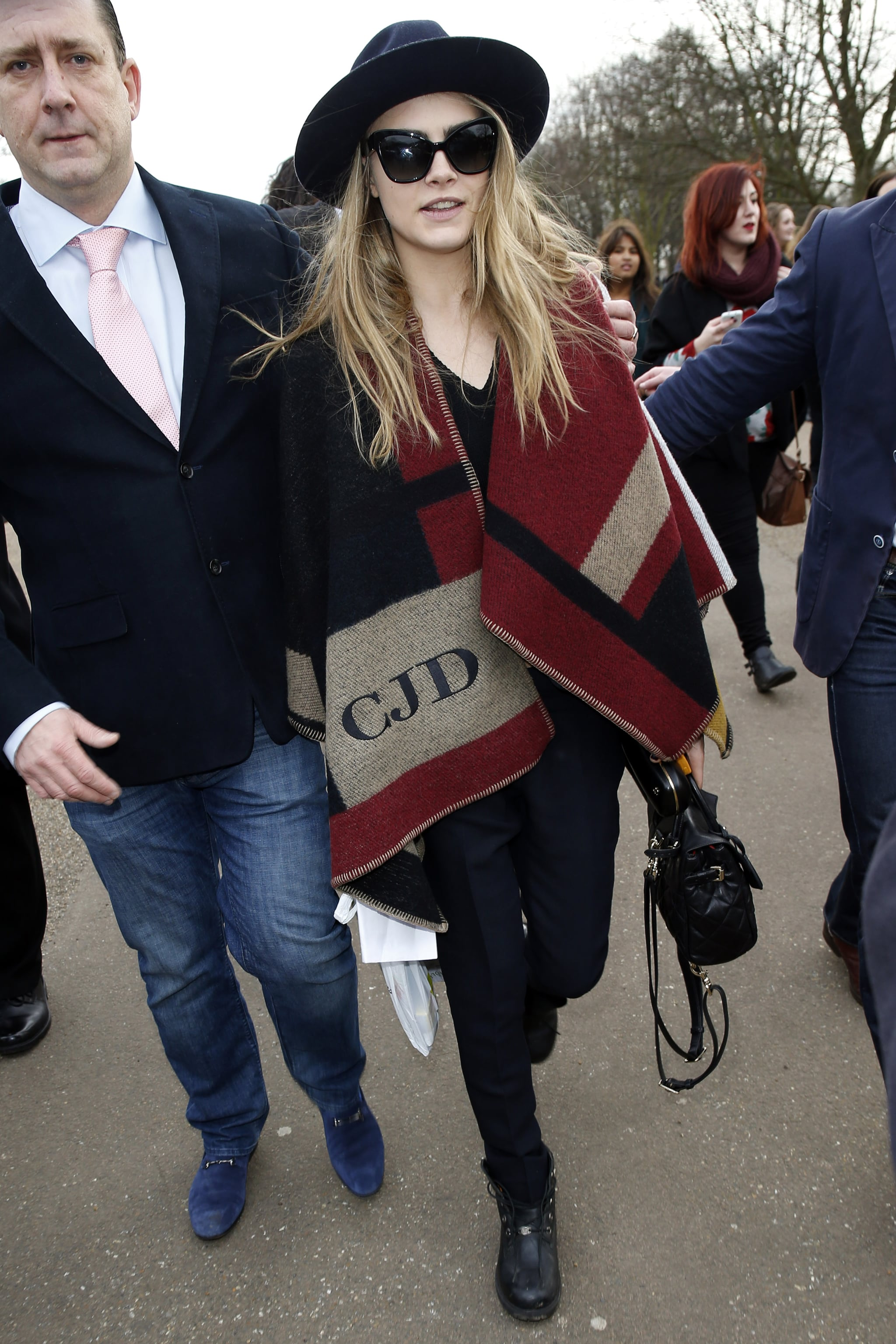 Cara Delevingne Outside the Burberry Fall 2014 Show