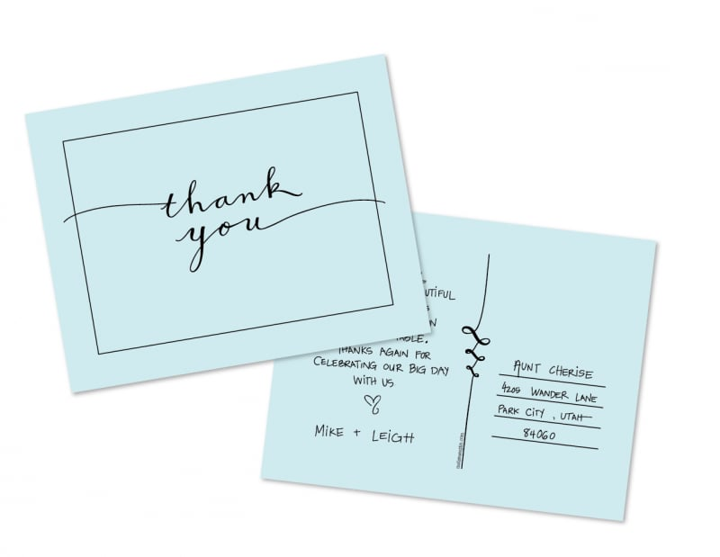 Sophisticated Thank You Postcard