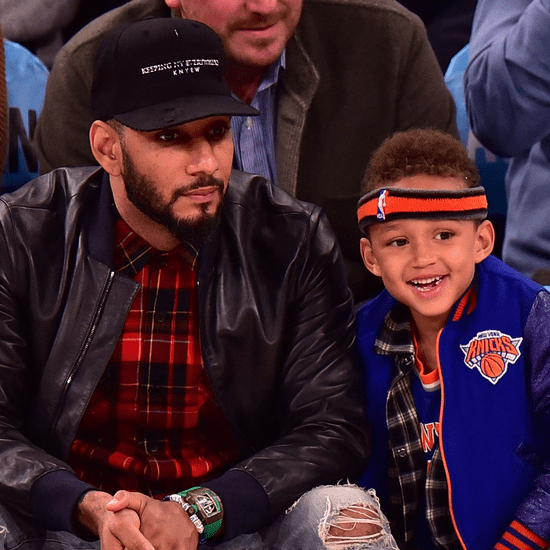 Swizz Beatz and Son at New York Knicks Game November 2015