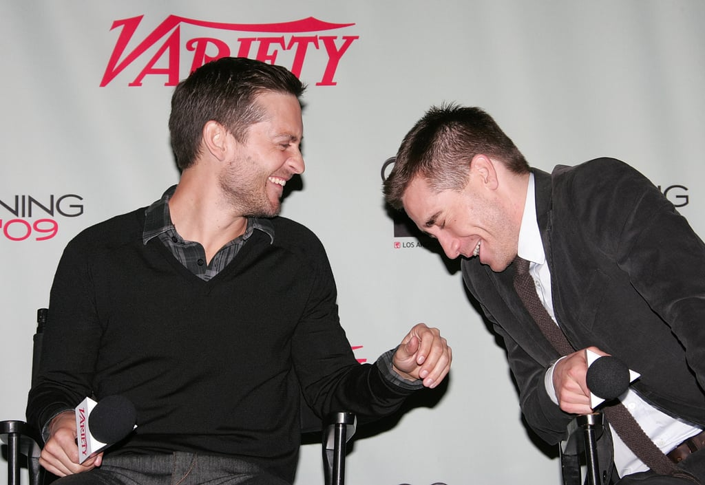 Jake and his Brothers costar Tobey Maguire cracked up during the LA Variety screening of the film in December 2009.