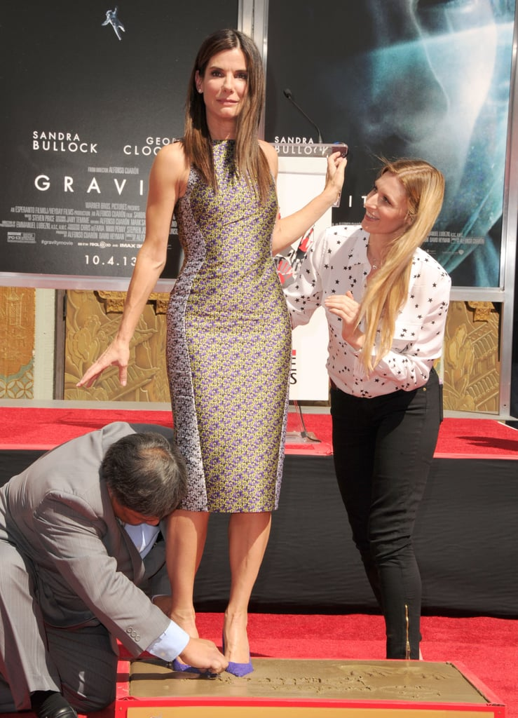 Sandra Bullock joked around with a funny face during the event.