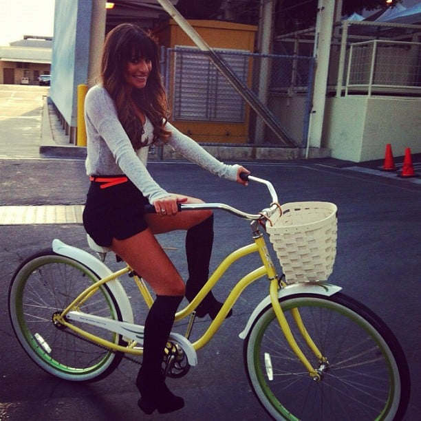 She rode a bike around the Glee set in August 2012. Source: Instagram user msleamichele