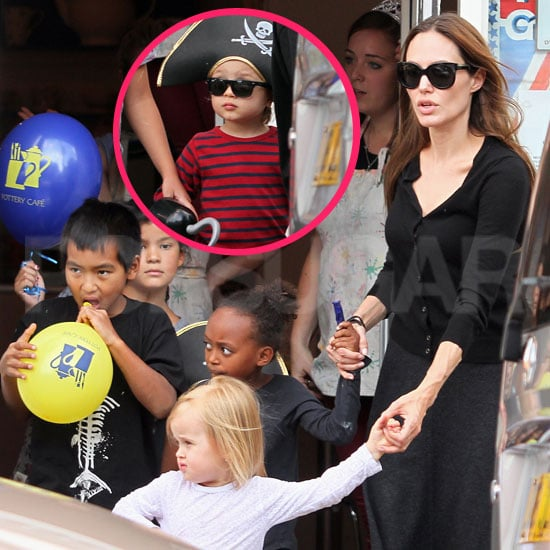 Angelina Jolie, All Six Kids Paint Pottery in Surrey Pictures