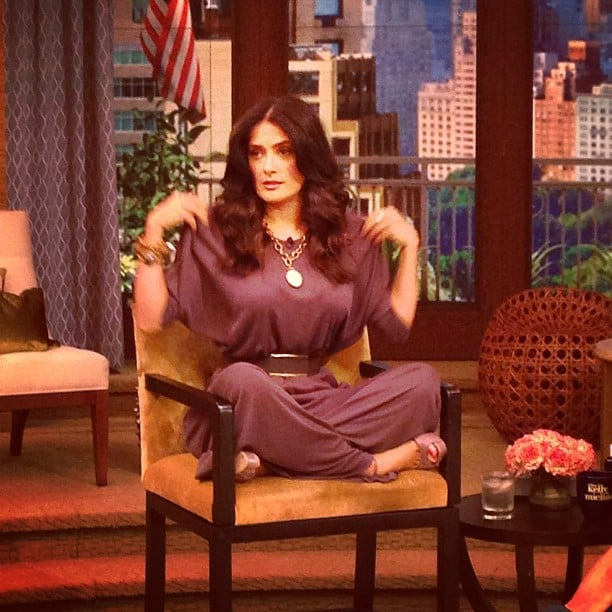 Salma Hayek got comfortable in a gorgeous dress during an appearance on Live! With Kelly and Michael. Source: Instagram user kellyandmichael
