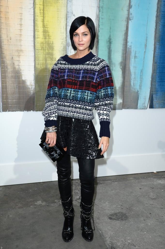 Leigh Lezark kept cozy at Chanel's Spring runway show.