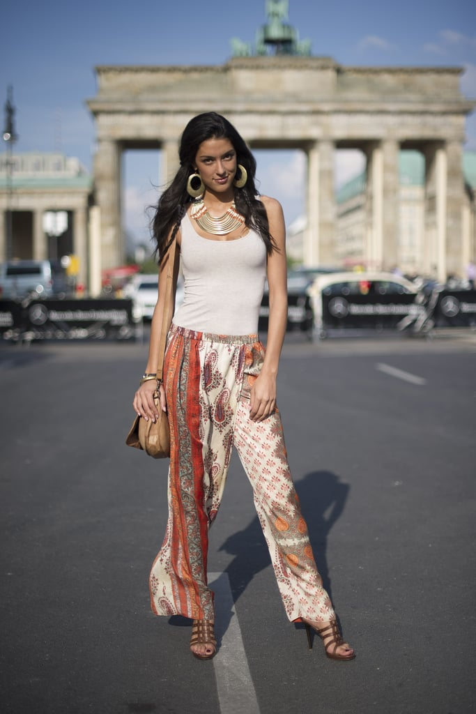 It was all about her printed pants and statement accessories in this Berlin look.