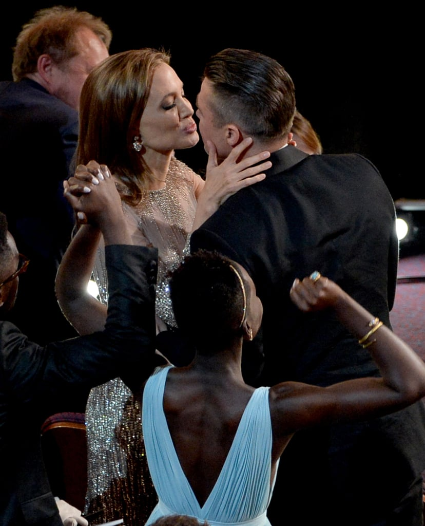 Angelina Jolie gave Brad Pitt a kiss when 12 Years a Slave won best picture.
