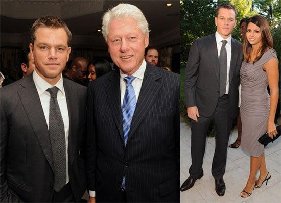 Photos of Matt Damon, Bill Clinton, Mary J Blige, Luciana Damon, And Elvis Costello at a ONEXONE Dinner in Toronto